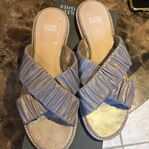 Eileen Fisher gold sandals. With box. Worn once
